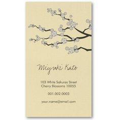 Black Sakura Cherry Blossoms Flowers Oriental Zen Business Card ...
