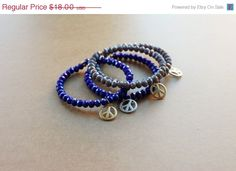 Mothers Day SALE Peace Sign Bangle, Gold peace sign bangle, silver peace sign bangle, blue beaded bangle, grey beaded bangle