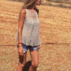 Knitting Pattern / tank top loose knit blouse tunic cotton