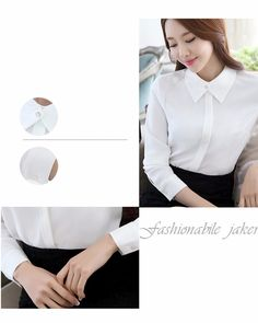 7d8e0bfe2cd4b Women s Elegant Korean Style Chiffon Notched Collar Solid Color Blouse
