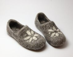 Felted wool clogs Spring handmade organic wool by WoolenClogs