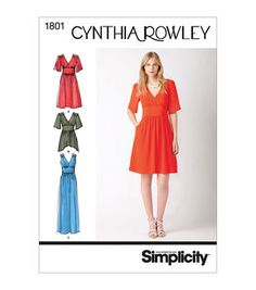 Simplicity Patterns Us1801R5-Simplicity Misses Dresses-14-16-18-20-22