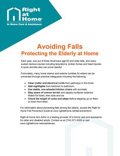 Help seniors avoid falling in or out of the home in this quick tip guide from Right at Home #AnnArbor, a provider of #homecare in Ann Arbor, MI. For more articles and information about #seniorcare and #caregiving tips in Ann Arbor, MI, visit www.rightathome.net/washtenaw/blog/. #seniorcaretips #homecaretips #seniorsafety #fallprevention #agingtips #caregivingtips #familycaregiving #caregivertips