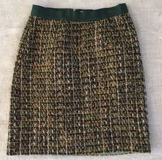 KATE SPADE Tweed Kylie Wool Skirt Sz 4 Green Gold Metallic Boucle Lined #KateSpade #ALine
