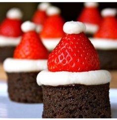 Yummy and cute for christmas chocolate cakes with strawberry and whipped creme