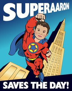 Kids Wall Art - Personalized Superhero Print - Illustrated from your photo PRINTABLE FILE. $25