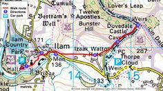 Route of the Ilam Park to Dovedale Stepping Stones walk in Derbyshire