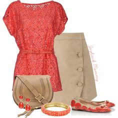 """""""Coral Casual"""" by jayhawkmommy on Polyvore"""