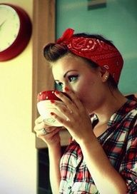 .rockabilly love the plaid with the hair and bandana