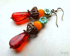 July/August challenge - B'Sue's cube drawn beads in choxie finish with bright Czech glass. www.lilrubyjewelry.com