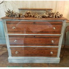 Distressed white and stained dresser with crystal knobs. $224.99 #cherisheverymoment #upcycled #homedecor