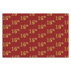 #Red Faux Gold 16th (Sixteenth) Event Tissue Paper - #birthday #gifts #giftideas #present #party