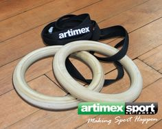 Wooden gymnastic rings with straps, Product code 1163-strap