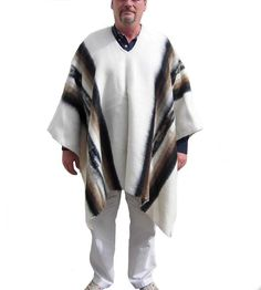 Herren Peruanischer Original #Poncho #Alpakawolle Anden Schaman Weiss Inka, Mantel, Kimono Top, The Originals, Peru, Tops, Women, Fashion, Ponchos