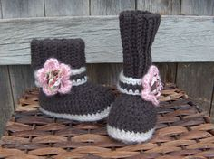 Crochet Boots - brown and tan with pink flower and strap. via Etsy.