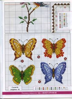 Butterfly cross stitch and chart. Gallery.ru / Фото #21 - Українська вишивка 25 - WhiteAngel