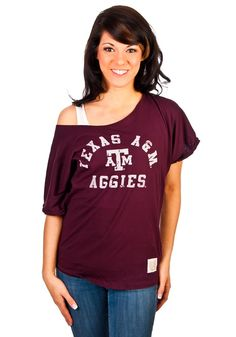 Texas A Aggies Womens Maroon Red Wide Scoop Neck Tee    http://www.rallyhouse.com/shop/texas-am-aggies-original-retro-brand-texas-am-aggies-womens-maroon-red-wide-scoop-neck-tee-4810167    $39.95