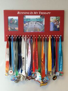 Custom plaques, Trophies, Awards, Gifts, and Medal Display Racks Trophy Display, Award Display, Running Medals, Running Race, Trail Running, Wood Picture Frames, Picture On Wood, Race Medal Displays, Display Medals