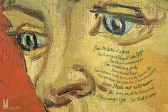 """Винсент Ван Гог На картине: """"Я видела провал гения. Я видела последние годы Винсента Ван Гога. Я видела французов, недооценивших меня. Я видела мастера, умершего в нищете. Я видела раскаявшуюся Европу. Я видела миллионеров, выкрикивавших мое имя на аукционах. Я видела новый дом. Я видела взрослых учителей и детей-учеников. Я видела, как новое здание становится самым посещаемым музеем Бразилии. Но, увидев все это, есть кое-что, чего я еще не видела: тебя. Приезжай. Я хочу на тебя посмотреть""""."""