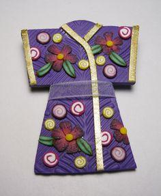 Purple Kimono Polymer Clay Pin Handmade by SweetchildJewelry, $15.00