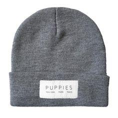 Designer Label   Light Gray Beanie - Hat -  - Puppies Make Me Happy