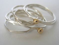 Silver/9carat gold stack rings