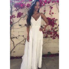 0b1babe41 Vestido Longo Plissado - Branco. Azza Boutique