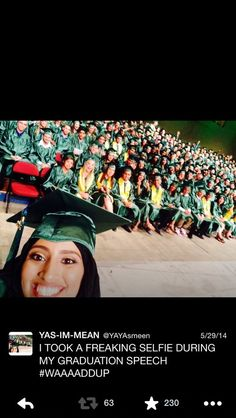 This is Yasmeen. (I went to school with her<3 she Is so amazing <3 this was our graduating class<3)She's an 18-year-old from California and Tumblr just fell in love with her and her amazing selfies. | This Teenage Girl Takes Hysterical Selfies About What It's Like To Live In America As A Hijabi
