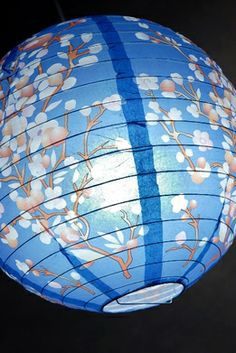 Paper Lanterns 14 in. Blue with Cherry Blossoms