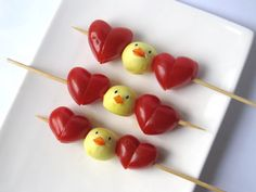 Heart and chick kabobs for Easter day barbecue