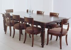 Farmhouse Dining Table with Hand turned Legs & Brooklyn Chairs - French oak
