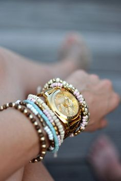 Do you think all those colorful bangles and bracelets are just for summer? You're totally mistaken. Take out all of them and start your own arm party. Jewelry Box, Jewelry Bracelets, Jewelry Accessories, Fashion Accessories, Stacking Bracelets, Arm Bracelets, Summer Bracelets, Pandora Jewelry, Gold Jewelry