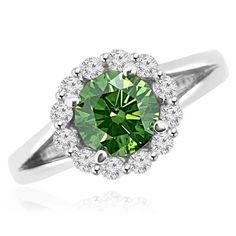 Jewelry Point - 1.55ct Green Diamond Halo Engagement Ring Split Band, $2,990.00 (http://www.jewelrypoint.com/1-55ct-green-diamond-halo-engagement-ring-split-band/)