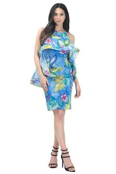 Midi Dress Front and Back Ruffle Around Sleeve: Sleeveless Neckline: Round Season: Summer, Spring Pattern: Tropical Print Mater Formal Dresses, Party Dresses, Neckline, Sleeves, Pattern, Color, Collection, Tropical, Spring