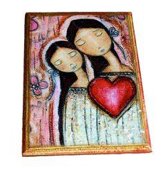 Solo un Corazon madre hija amor  impresión Giclee por FlorLarios, $35.00