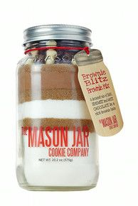 Brownie Mix in a Mason Jar with Rich Jersey Cocoa and Dark, White & Semisweet Chocolate frascos de conserva