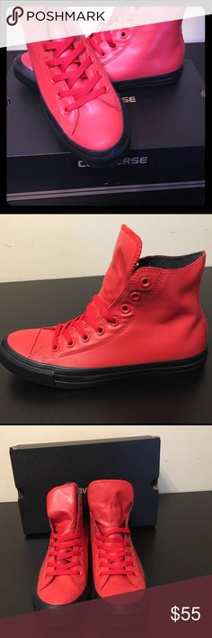 Converse All Star Red Leather, Unisex Love from first sight! Red leather, classic, old-school, super comfortable and attractive. Unisex - Size 9/ Women's, Size 7/ Men's. Be a star with all star!!! 💫 Converse Shoes Sneakers