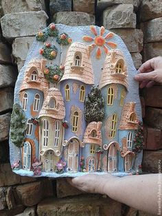This Pin was discovered by Inn Polymer Clay Projects, Diy Clay, Polymer Clay Art, Clay Crafts, Clay Wall Art, Ceramic Wall Art, Pottery Houses, Ceramic Houses, Pottery Sculpture