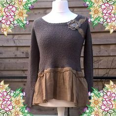 upcycled refashion preloved eco clothing peplum sweater top tunic dearlisauk grey and taupe linen floral corsage recycled clothing uk