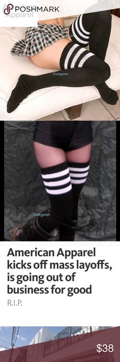American Apparel Thigh High Socks Over The Knee Authentic American Apparel new never worn thigh high socks. Discontinue black with white stripes or white New never worn and still clipped together ( sorry no packaging ). Why not treat yourself or give as a gift. Price Firm. American Apparel Accessories Hosiery & Socks