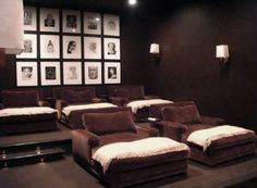 Stylish and Fascinating Movies Room Decor: Warm Media Room Design with Chocolate Brown Velvet