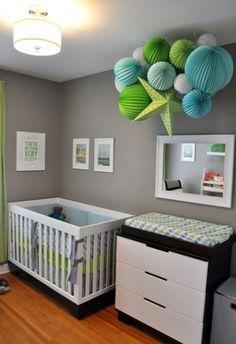 Grey/white/blue/green cigs nursery idea