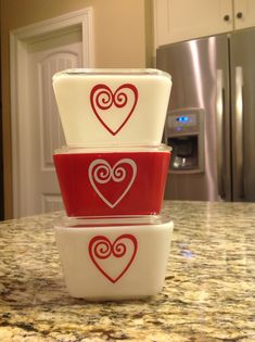 Pyrex with a heart decal design