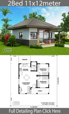 Home design plan with 2 bedrooms – Home Design with Plansearch Wohndesignplan mit 2 Schlafzimmern – Wohndesign mit Plansuche Little House Plans, Family House Plans, New House Plans, Dream House Plans, Small House Plans, Simple House Design, Tiny House Design, Two Bedroom House Design, Philippines House Design