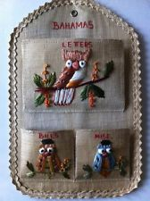 Vintage Straw Bahamas Souvenir Owl Mail Wall Pocket Organizer
