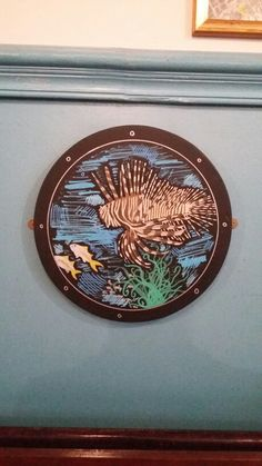 Lion Fish porthole - hand drawn with uniposca pens #tonyaaaagh
