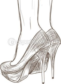 Schuhe skizzieren - Stock Illustration # 13405236 - Drawings and Tutorials - Pencil Art Drawings, Art Drawings Sketches, Easy Drawings, Pencil Drawing Tutorials, Portrait Sketches, Sketch Art, Shoe Sketches, Fashion Sketches, Simple Sketches