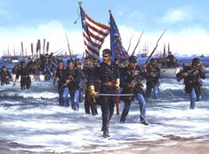 Confederate Point, Landing at Fort Fisher by John Paul Strain: January 1865 Military Art, Military History, Military Service, Military Quotes, American Civil War, American History, American Soldiers, Native American, World History