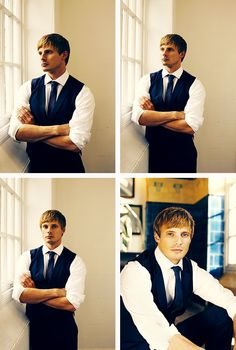Bradley James <3 I was just thinking about how hard it must be for him to NOT smile during photo shoots! Love him