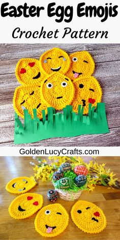 These crochet Easter Egg Emojis are perfect for your spring crochet project. You can use them to decorate your home, you can attach them to a string and make an Easter Garland, or, if you make them from cotton yarn, you can use them as coasters. Crochet Applique Patterns Free, Easter Crochet Patterns, Crochet Patterns For Beginners, Crochet Appliques, Crochet Fall, Holiday Crochet, Free Crochet, Diy Crochet Projects, Crochet Crafts